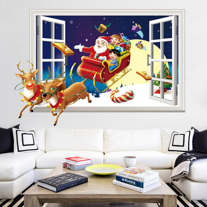 Miico XH7246 Christmas Sticker Home Decoration Sticker Window and Wall Sticker Shop Decorative Stickers, Banggood  - buy with discount