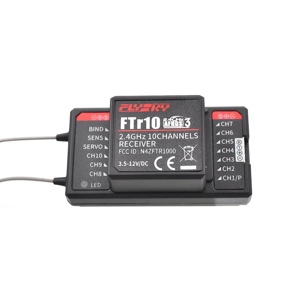 FlySky FTr10 2.4G 10CH AFHDS 3 RC Receiver Support i-BUS/S-BUS/PPM Output for RC Drone