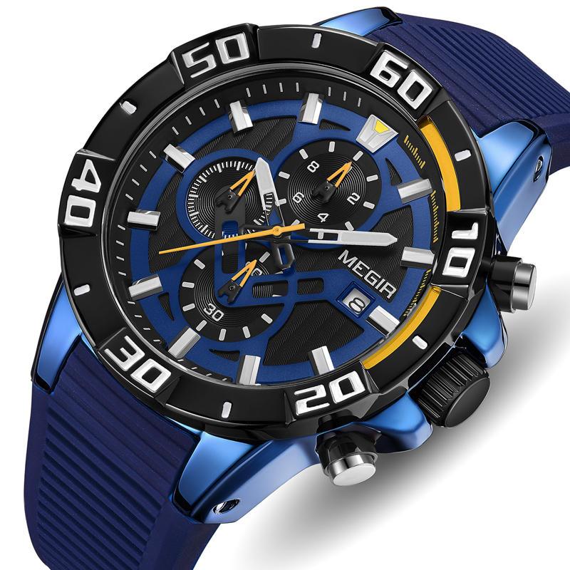 MEGIR 2121 Analogowy wodoodporny wojskowy silikonowy pasek Moda kwarcowy zegarek Męski zegarek