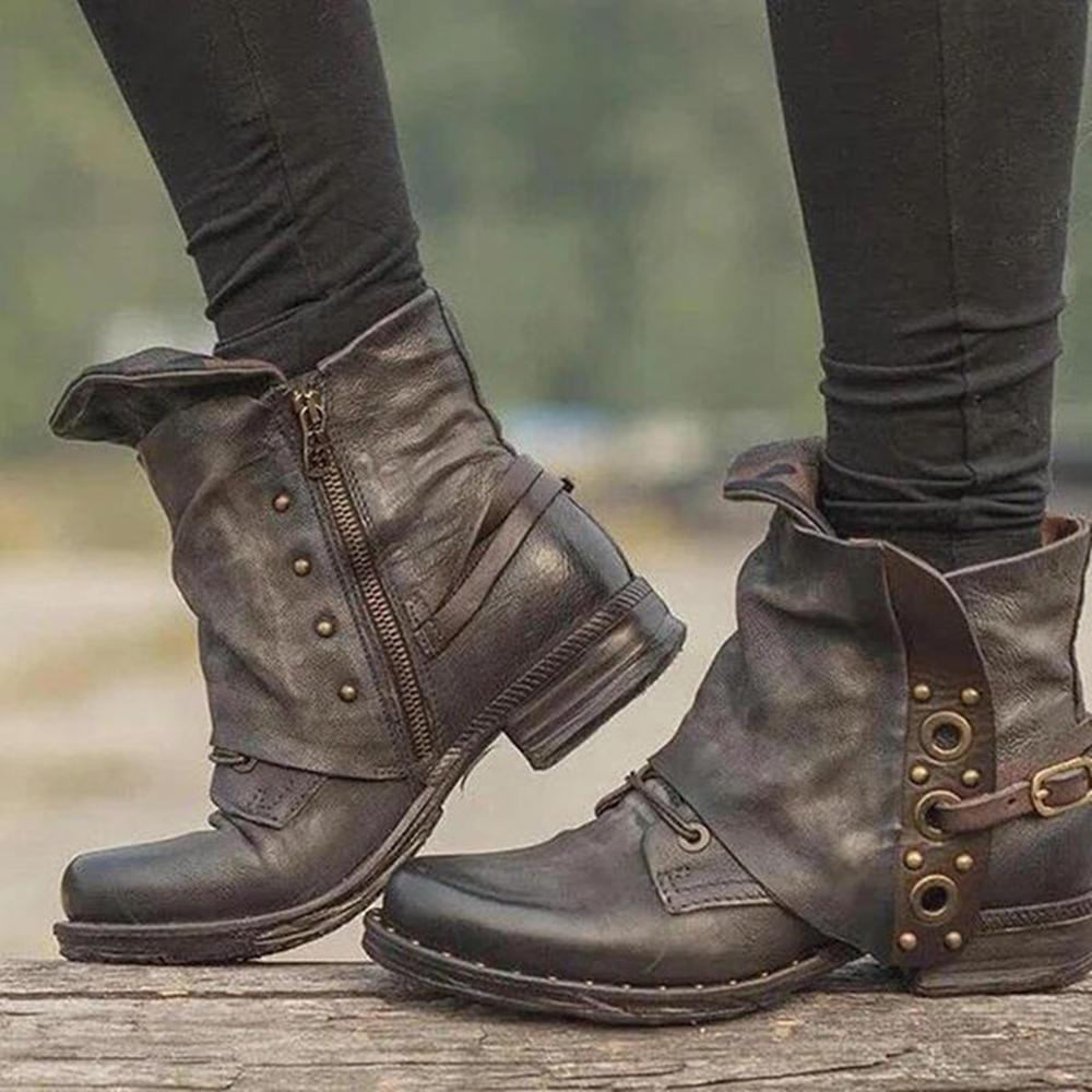 Women Rivet Buckle Decoration Zipper Leather Ankle Boots