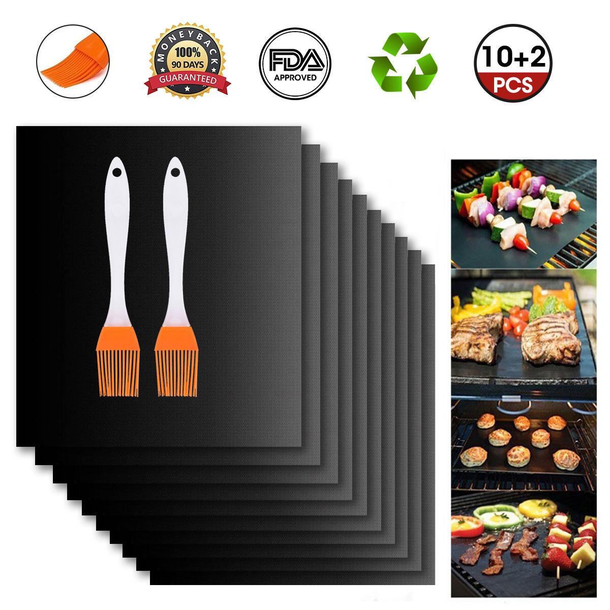 12Pcs BBQ Grill Mat Miracle Non Stick Barbecue Teflon Fiber Reusable BBQ Mat with 2 Brush