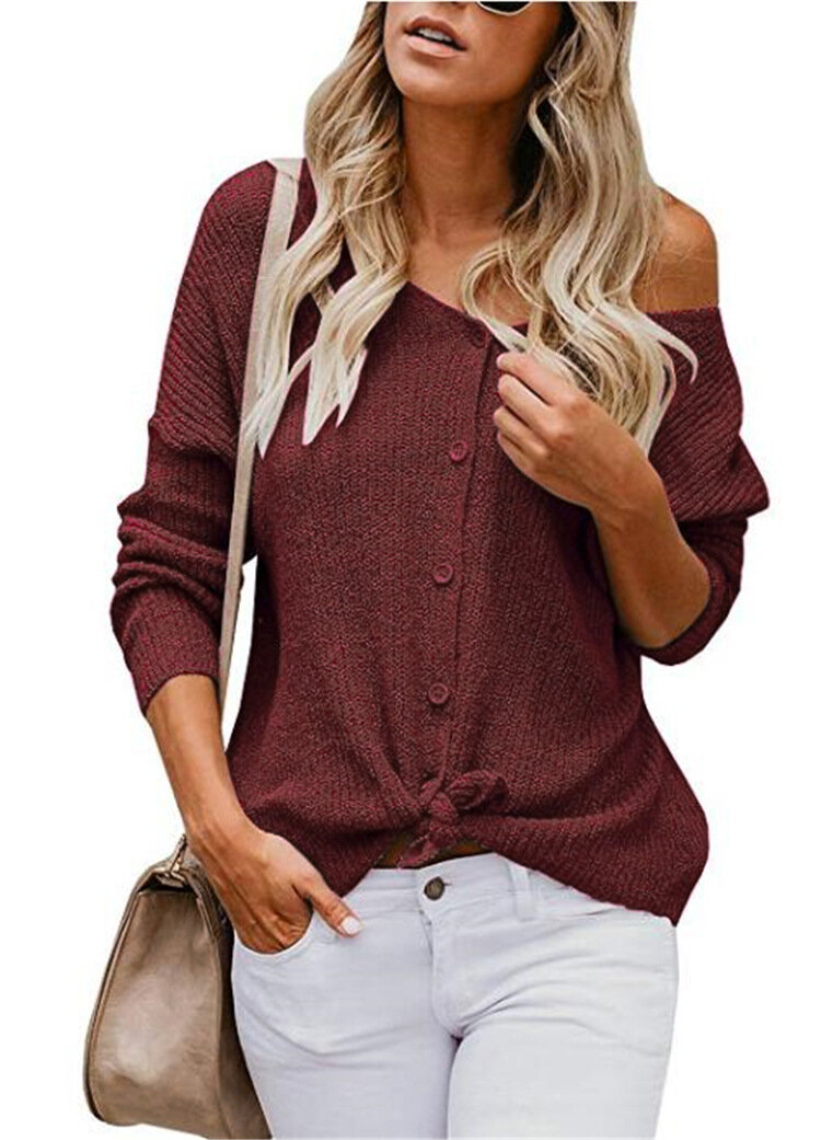 Solid Color V-neck Button Casual Women Cardigans