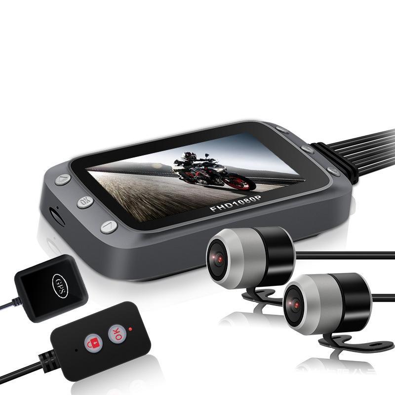 3 Inch WiFi 1080P + 1080P FHD Moto DVR Dual Dash Cámara Vista trasera delantera Impermeable GPS Conducción Grabadora de video