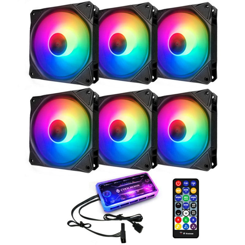 Coolmoon 6PCS 120mm RGB PC Fans 12 Monochromatic Light Adjustable CPU Cooling Fan With the Remote Control