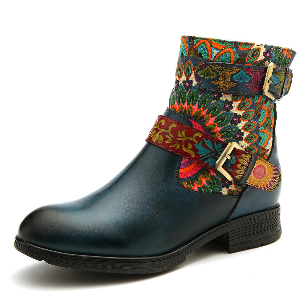 SOCOFY Women Metal Buckle Pattern Genuine Leather Comfy Ankle Boots