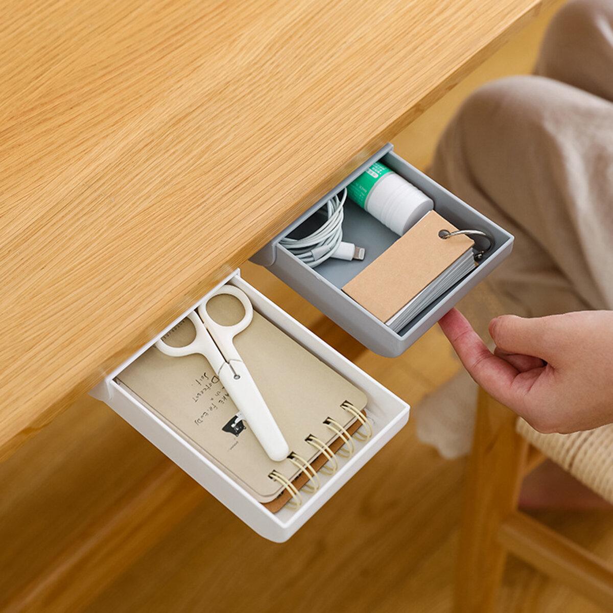 1 Piece Self Adhesive Hiden Under Desk Drawer Type Pen Holder Pencil Case Tray Self Desktop Organizer Office School Supplies