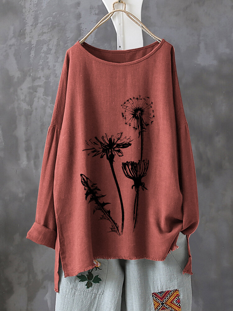 Casual Print Flower Long Sleeve Autumn Shirts