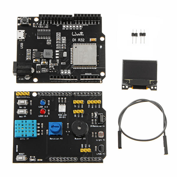 Multifunction Expansion Board DHT11 LM35 Temperature Humidity UNO ESP32 Rev1 WiFi D1 R32 0.96 Inch OLED Shield Geekcreit for Arduino - products that work with official Arduino boards