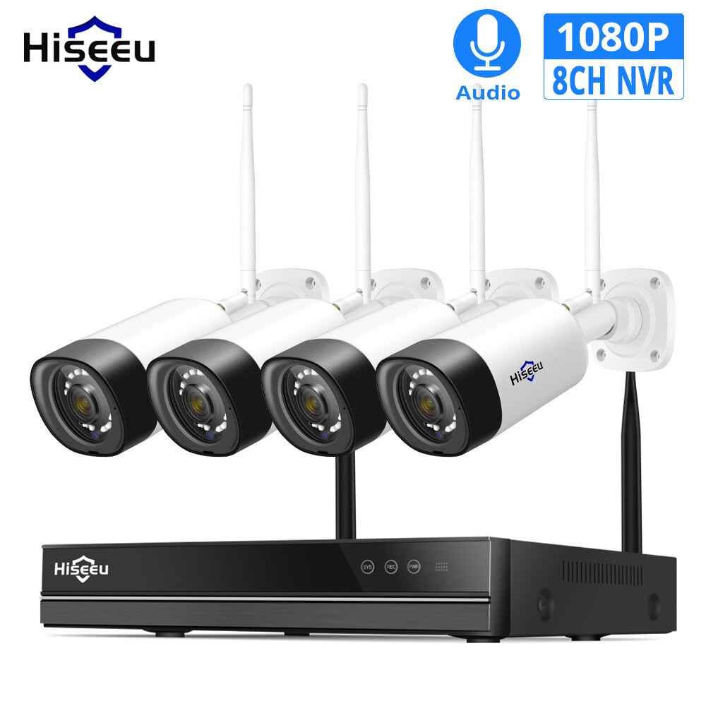 Hiseeu WNKIT-4HB312 8CH 1080P Wireless CCTV Security System 2MP IR Outdoor Audio Record IP Camera Waterproof Wifi NVR Kit Video Surveillance