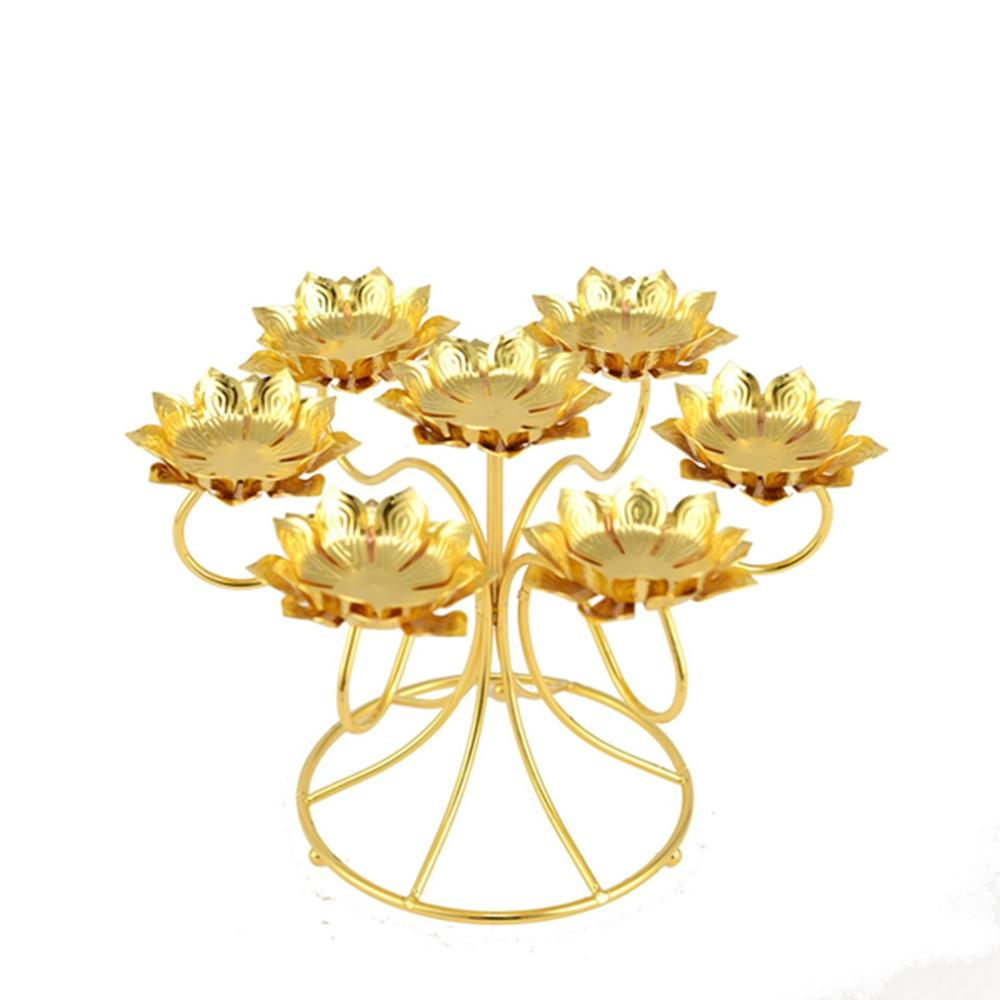 Assembled Lotus Style Stainless Steel Seven Star Butter Lamp Candle Holder For Daily Pray Or Buddhism Worship