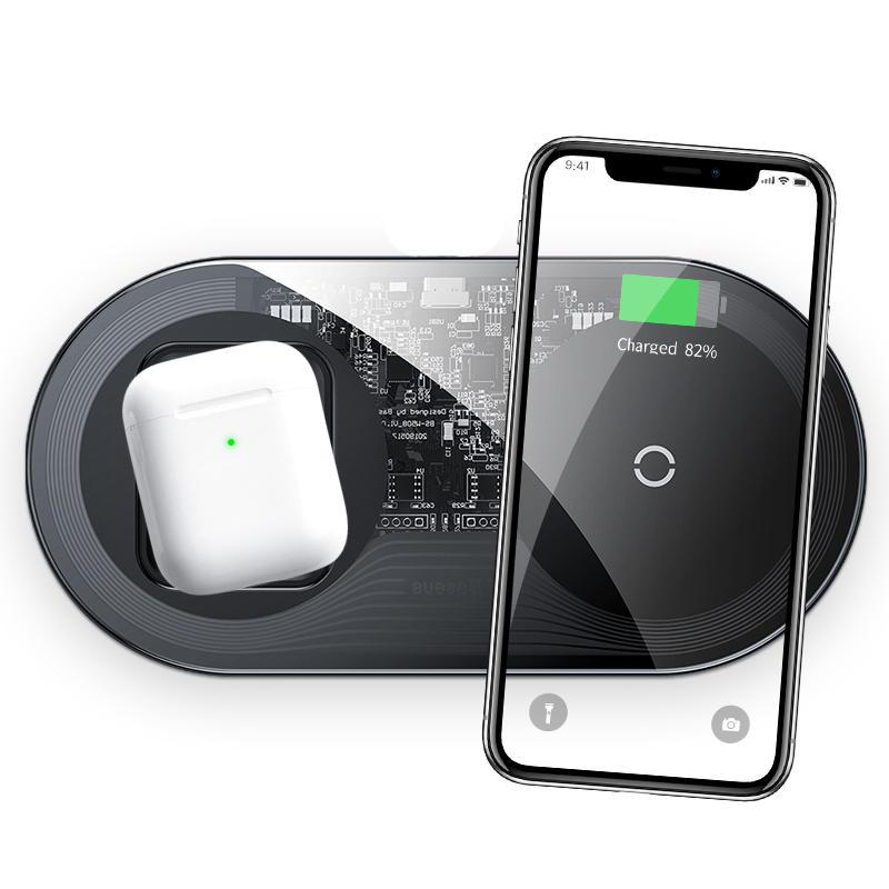 Baseus 15W Type-C Dobbeltspoler Qi Trådløs lader Hurtigladepute Telefonlader Høretelefonlader For Qi-aktivert smarttelefon Apple AirPods 2
