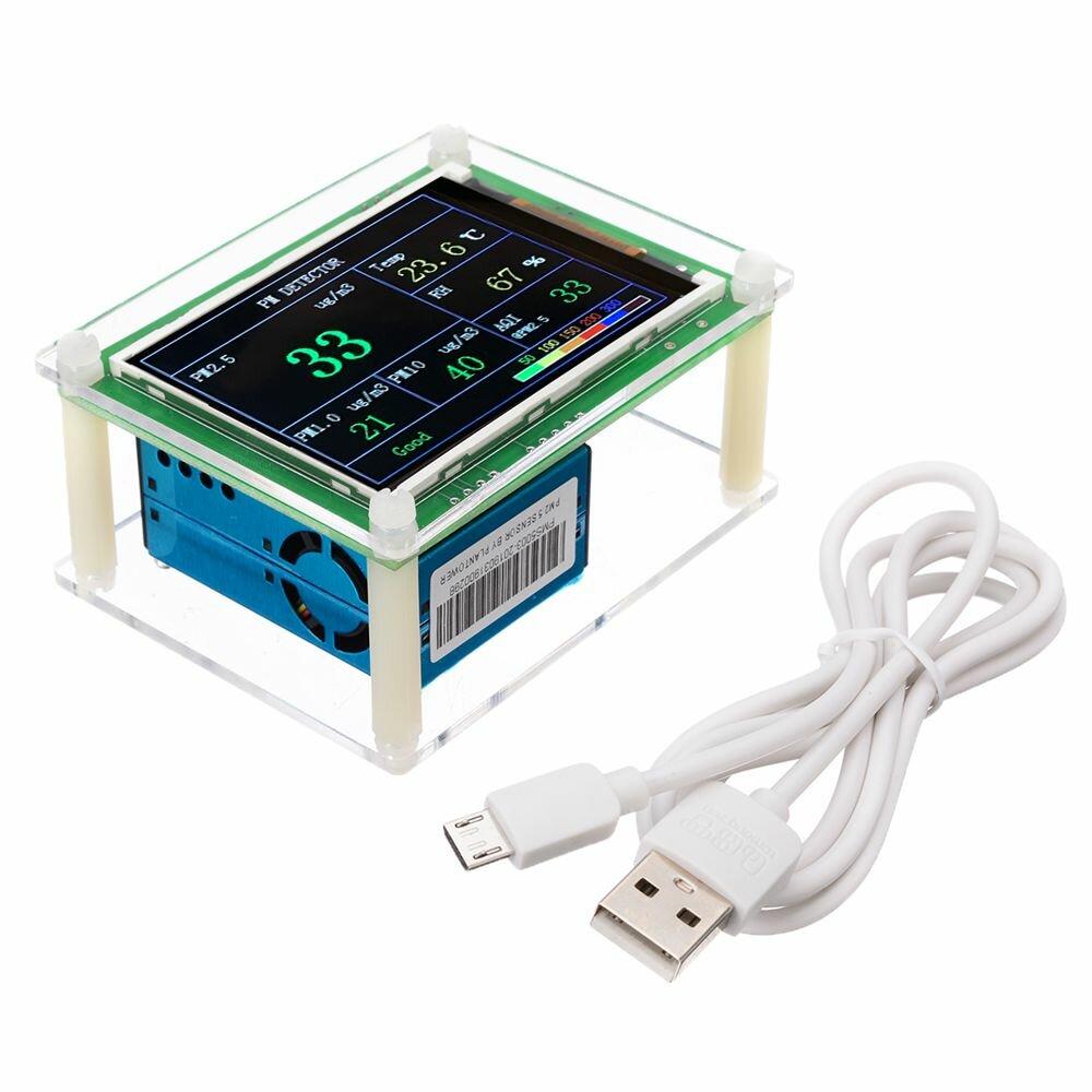PM2.5 Detektor Modul Kualitas Udara Debu Sensor Tester Detector dengan Layar LCD 2.8 Inch untuk Pemantauan Alat Rumah Kantor Mobil