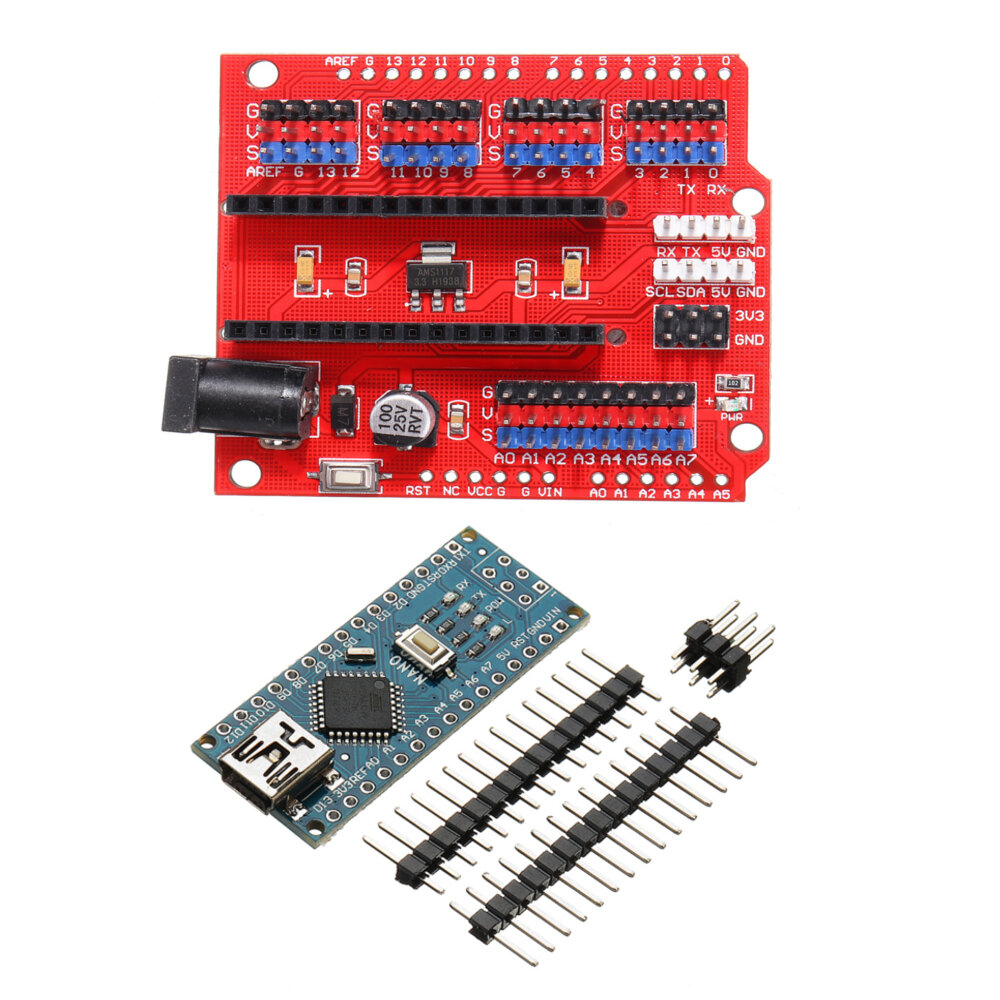 Funduino Nano Expansion Board + ATmega328P Nano V3 No Welding Geekcreit for Arduino - products that work with official A фото