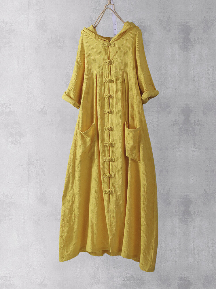 Retro Frog Button 3/4 Sleeve Pockets Hooded Chinese Maxi Dress