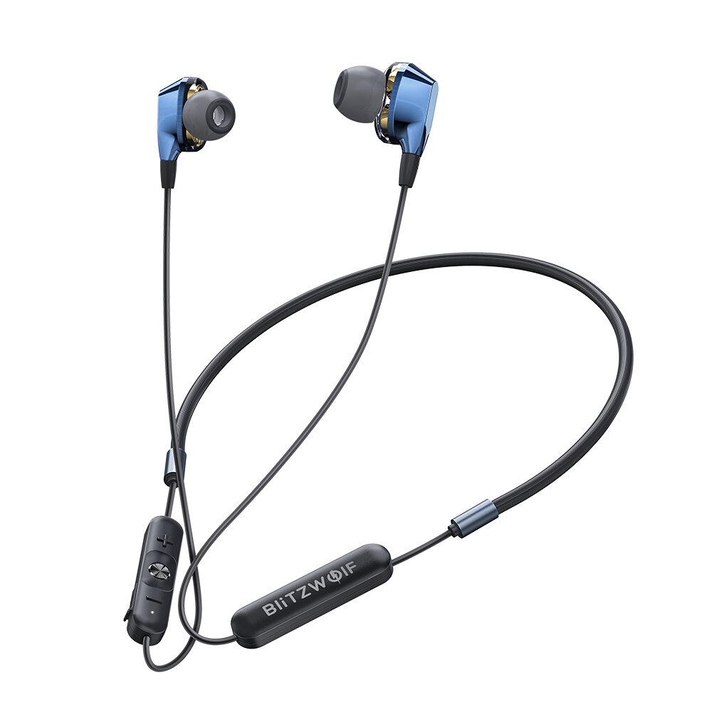 BlitzWolf® BW-BTS4 bluetooth 5.0 Earphone Nirkabel Neckband Dual Dynamic Driver Magnetic Olahraga Headphone dengan Mic