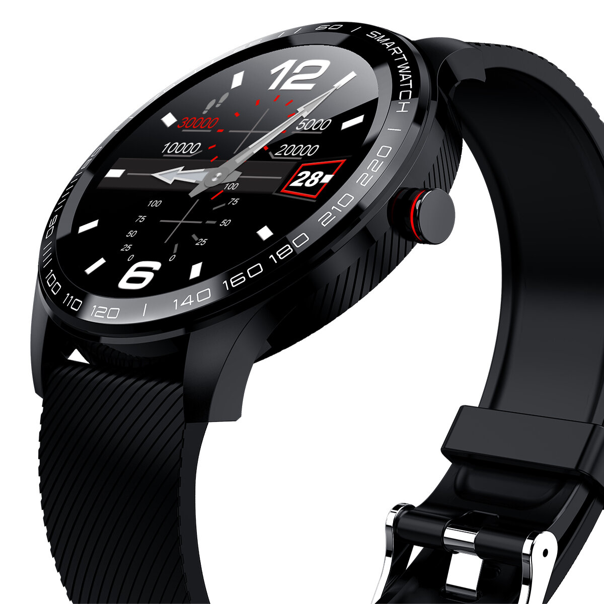 Microwear L9 Full Round Touch Screen Stainless Steel Bezel ECG Heart Rate O2 IP68 Facebook Display Business Smart Watch