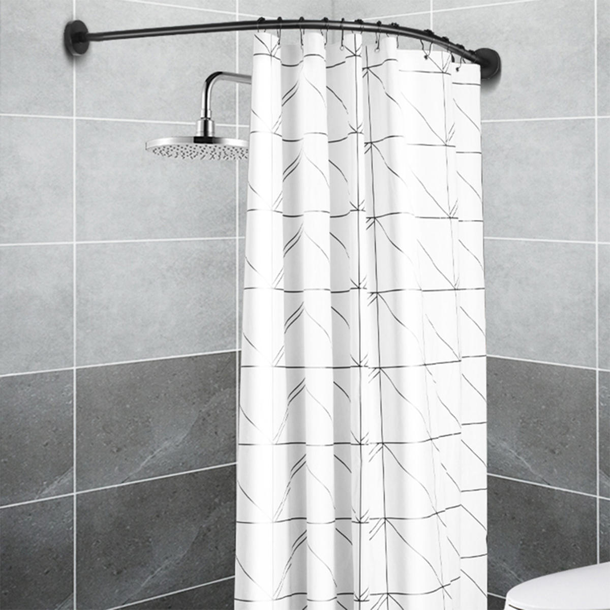Stainless Steel Shower Curtain Rod.L Shape Adjustable Stainless Steel Shower Curtain Rod Pole 90 130cm Retractable