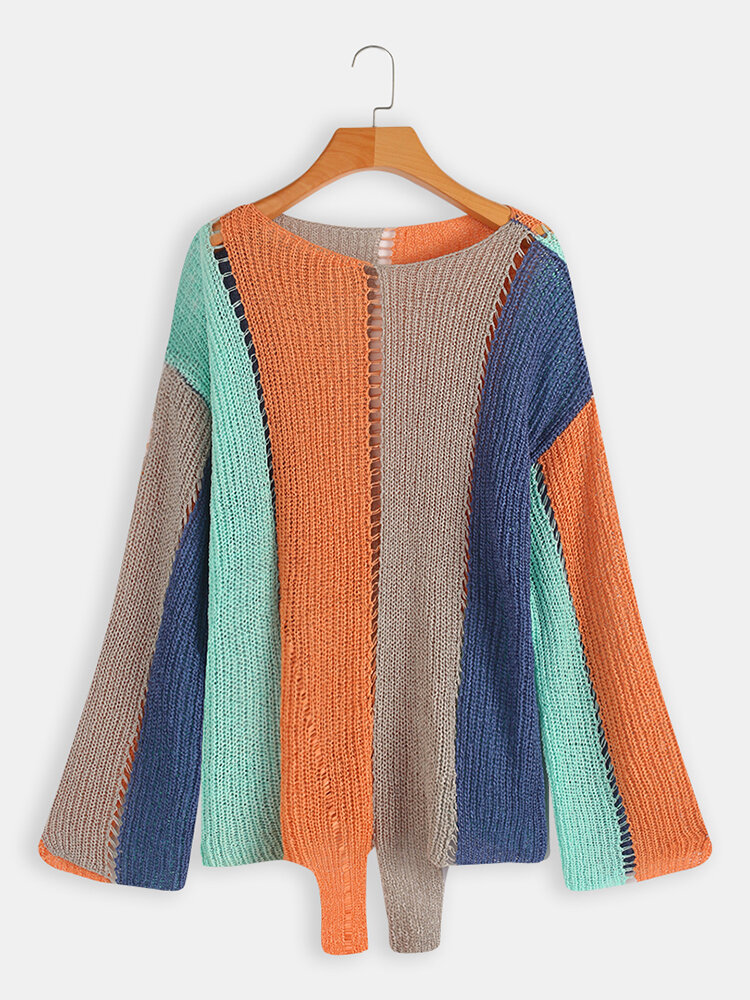 Long Sleeve Crew Neck Striped Hollow Sweaters