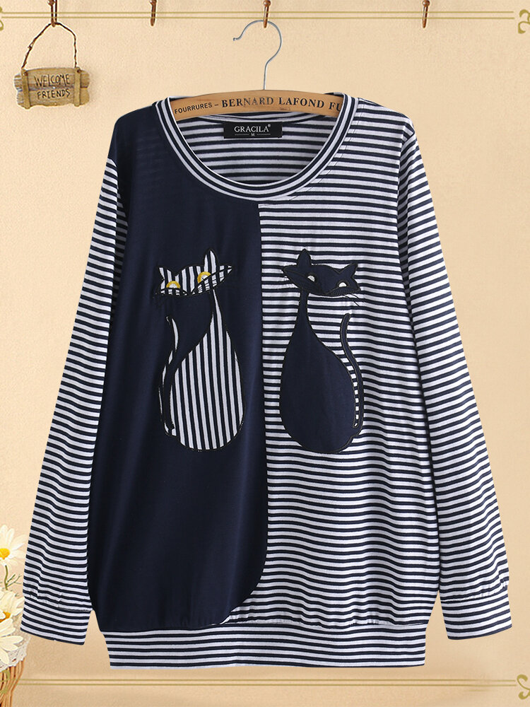 Cartoon Cat Stripe Patchwork Long Sleeve Blouse For Women