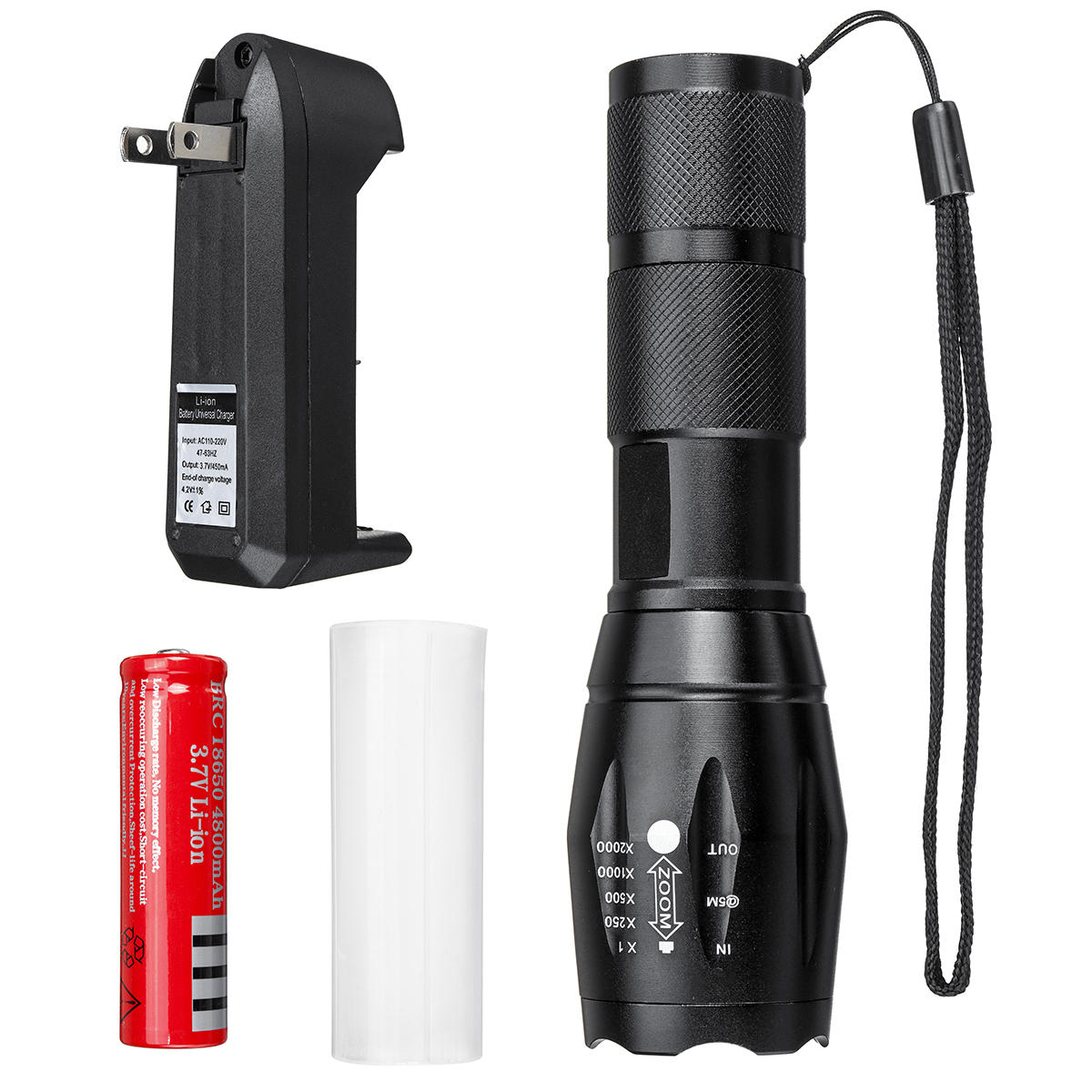 XANES T6 10W LED Flashlight Rechargeable 5 Modes Tactical Torch Light 18650 Battery US/EU/UK Plug
