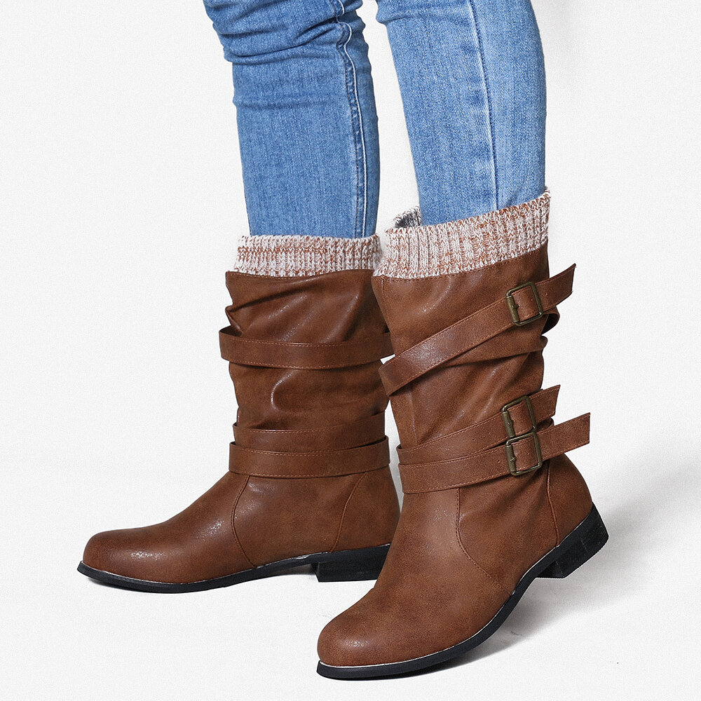 Women Retro Large Size Belt Buckle Mid Calf Boots