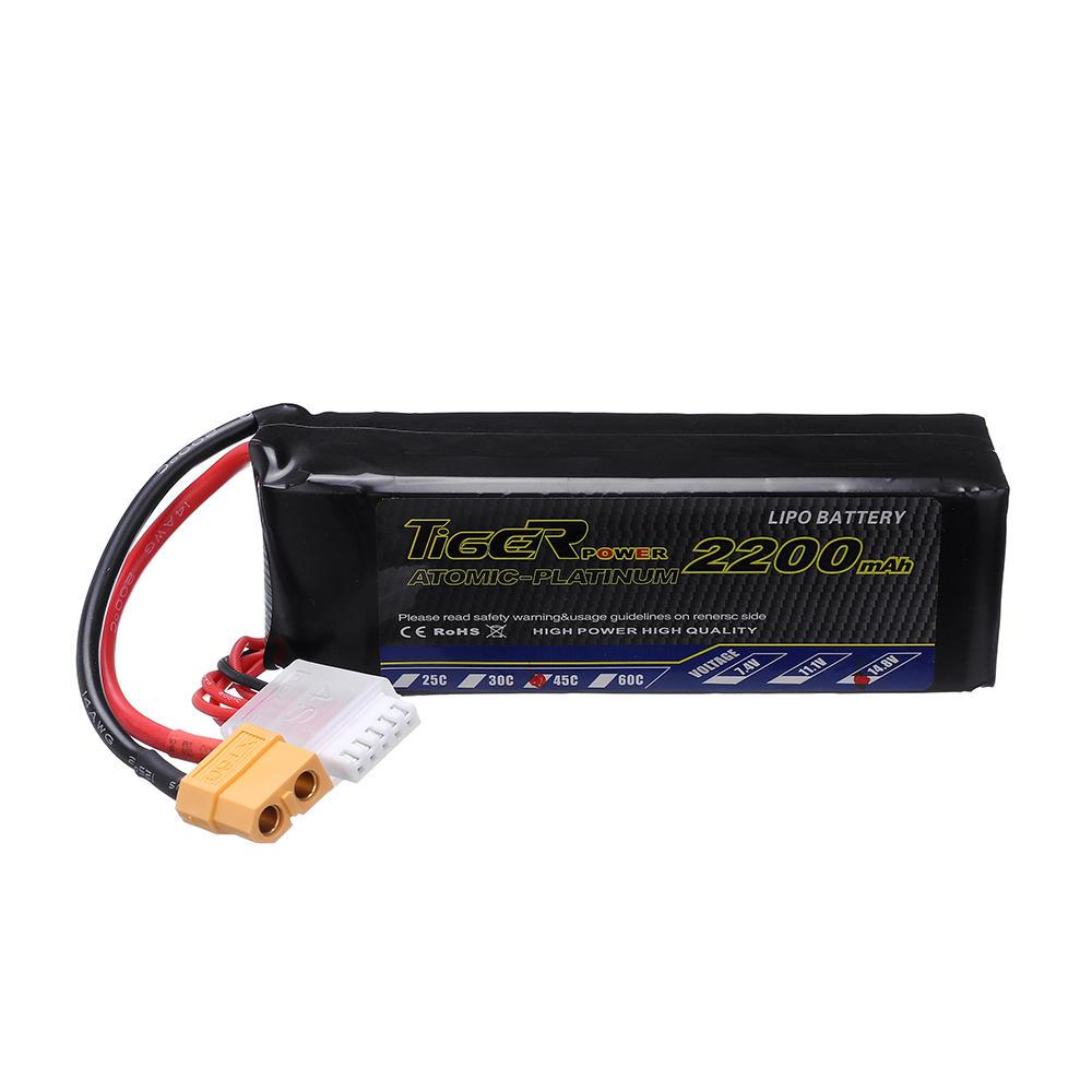 Tiger Power 14.8V 2200mAh 45C 4S Lipo Battery XT60 Plug for RC Drone Airplane фото