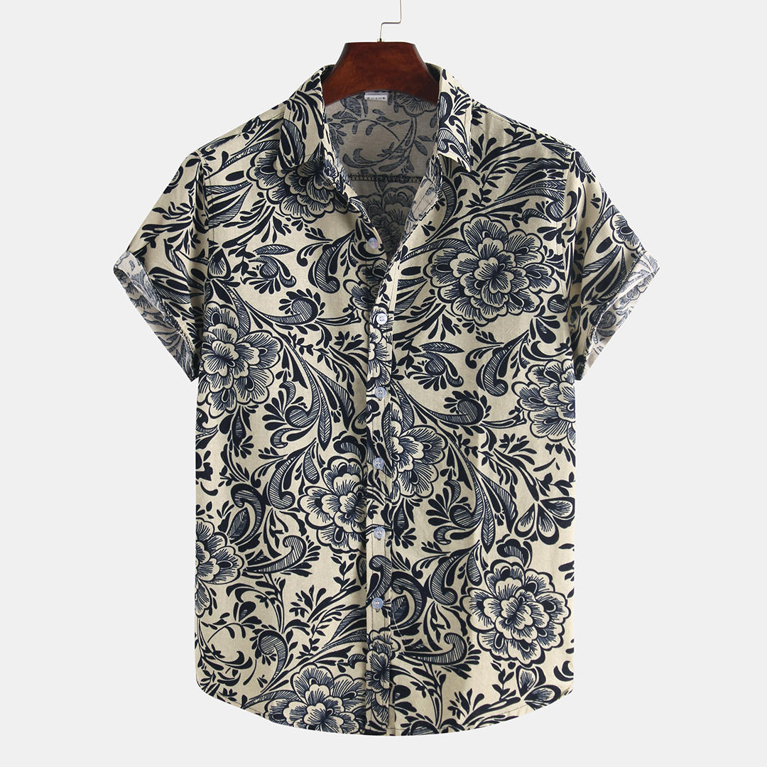 Đàn ông in cotton mùa hè thường xuống cổ áo sơ mi ngắn tay