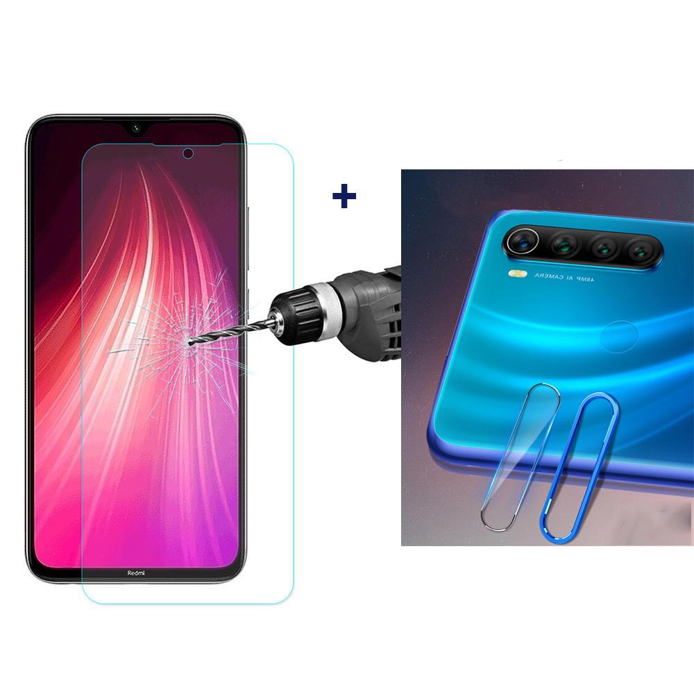 Für Xiaomi Redmi Note 8 Bakeey Explosionsgeschützte Displayschutzfolie aus gehärtetem Glas + blauer Metallkreis Ring Tel