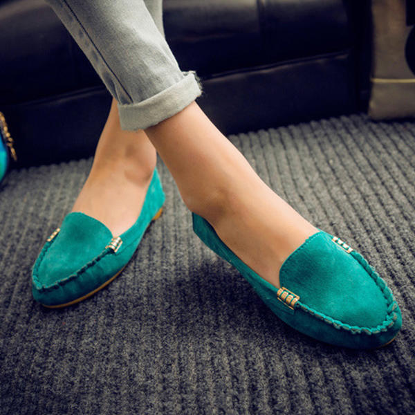 Women Metal Buckle Flat Portable Soft Colour Loafers