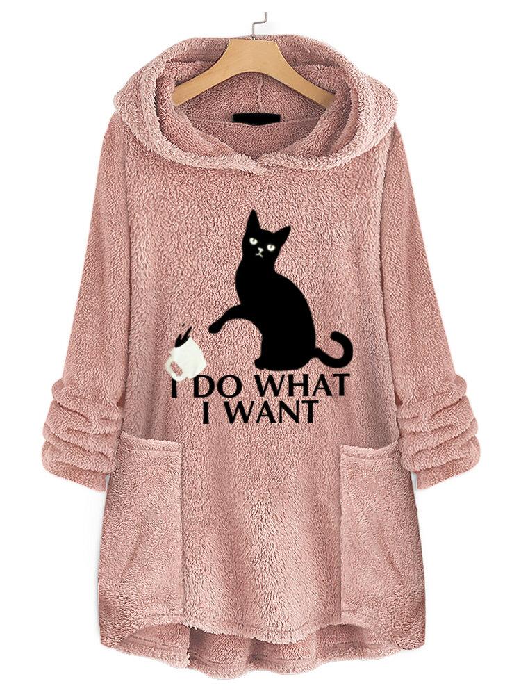 Women Casual Cat Print Hooded Fleece Thicken Sweatshirt Hoodies With Pocket