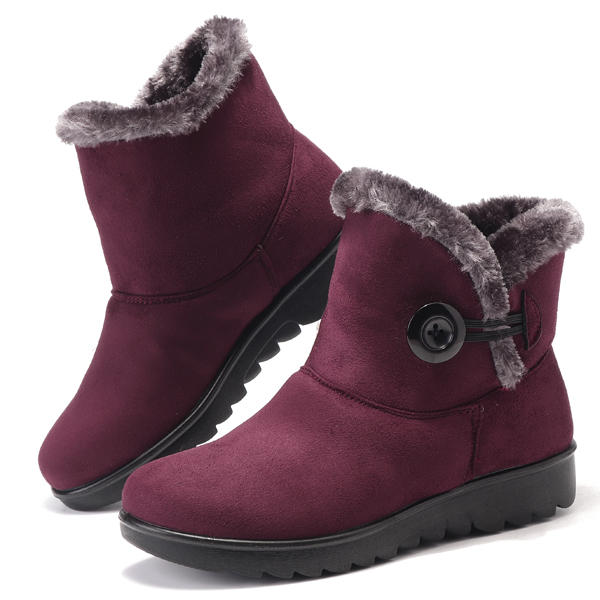 Women Buckle Comfortable Keep Warm Soft Ankle Snow Boots
