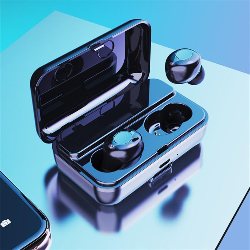 F9 TWS Dual bluetooth 5.0 Wireless Stereo Earphone IPX5 Waterproof Button Touch Auto Pair Gaming Headphone with 2000mAh Power Bank for Xiaomi