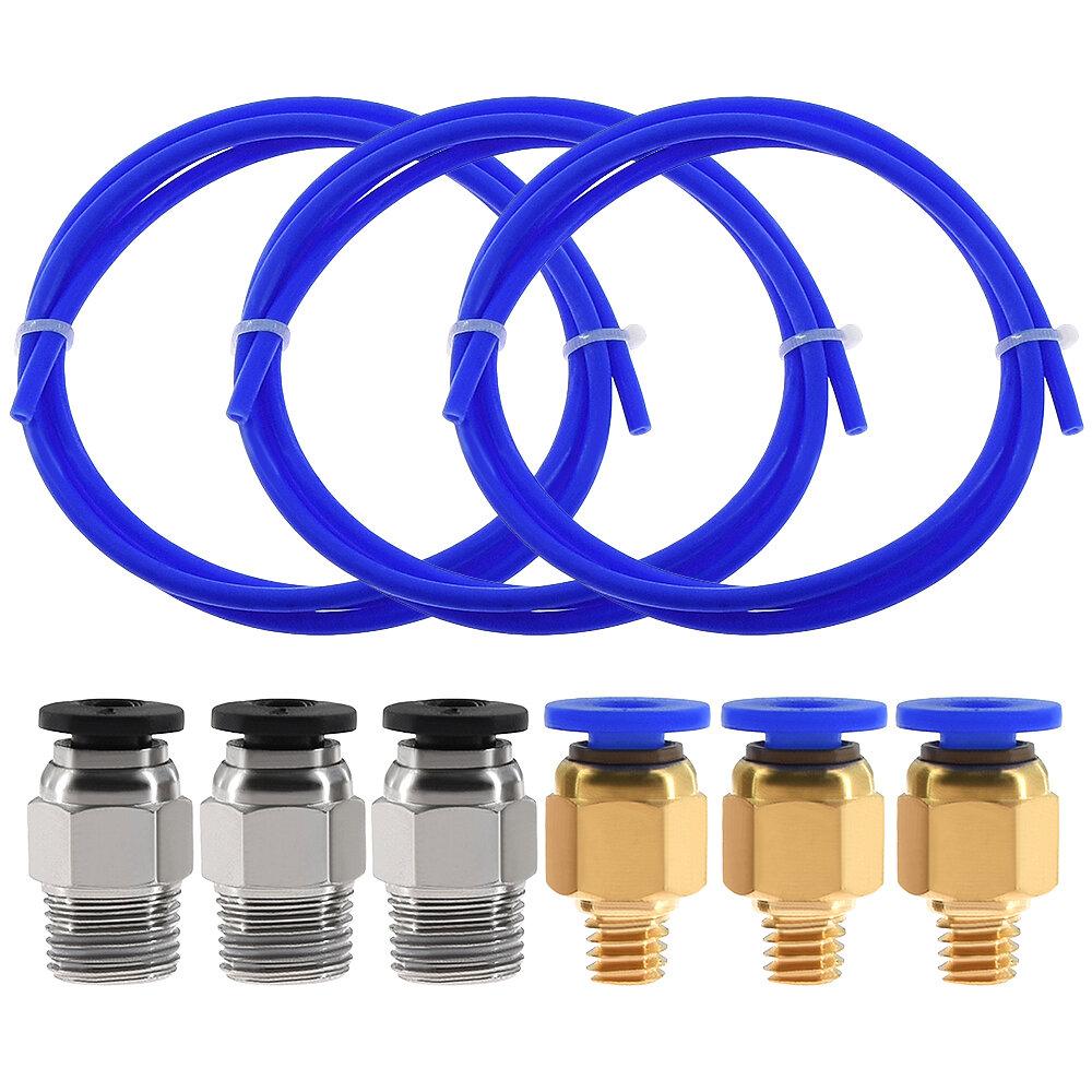 TWO TREES® 3PCS 1 метр синий PTFE Трубка + 3 PC4-M6 пневматический Коннектор + 3 PC4-M10 Коннекторs для 3D-принтера 1,75