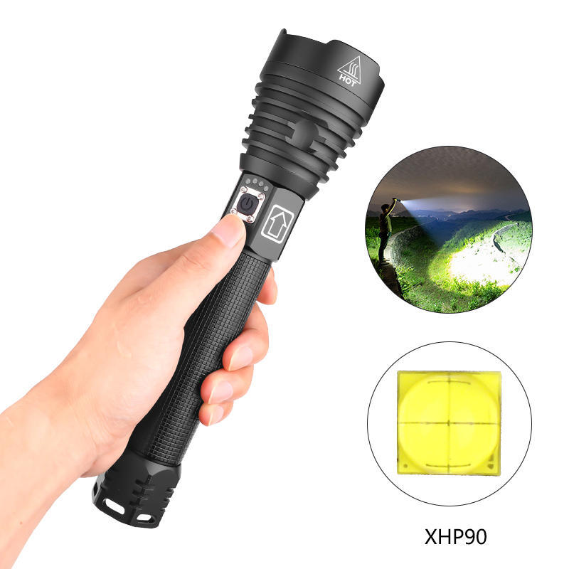 XANES® 1909 XHP90 2500 Lumens 3 Mode Zoomable USB Rechargeable Flashlight