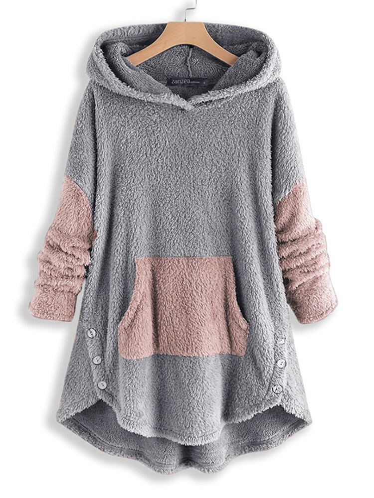 Women Contrast Color Splice Irregular Hem Hooded Fleece Sweatshirt Coats