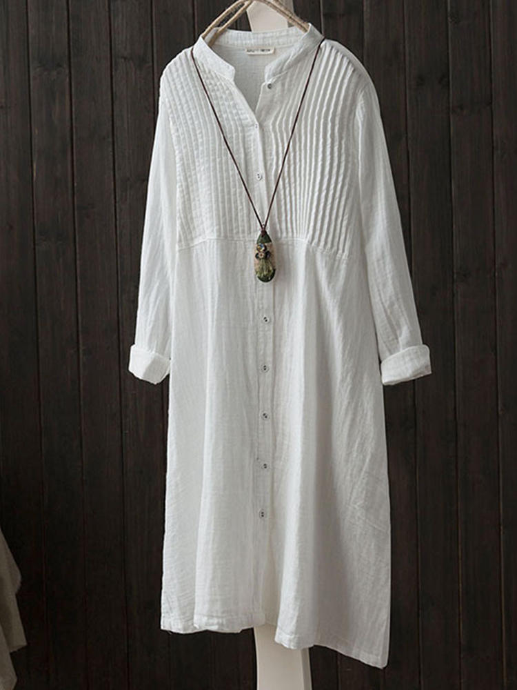Vintage Solid Color Button Down Band Collar Shirt Dress