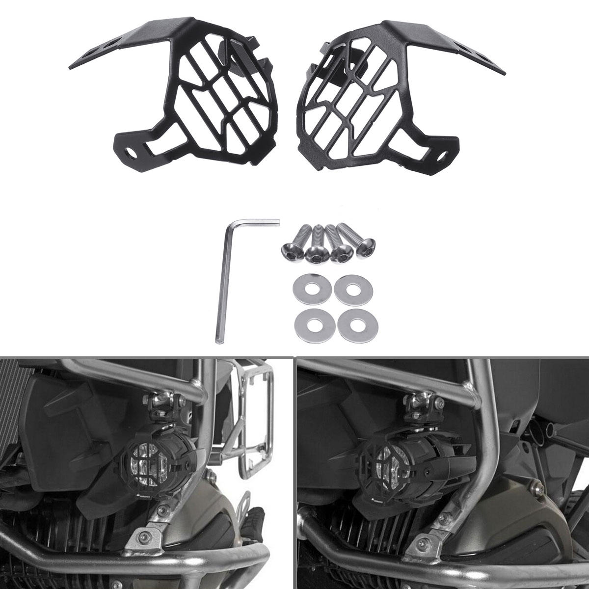 Pair Auxiliary Fog Light Frame Protector Guards Lamp Cover For BMW R1200GS F800GS Motorcyclce