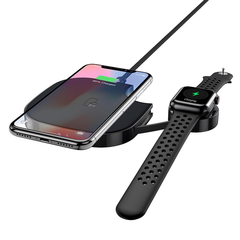 HOCO 10W 2 IN 1 फास्ट चार्जिंग वायरलेस चार्जर X5 ब्लैक Type-C चार्जिंग केबल Apple Watch iPod iPhone X XS HUAWEI P30 XIAOMI MI8 MI9 6671729 S10+ के लिए