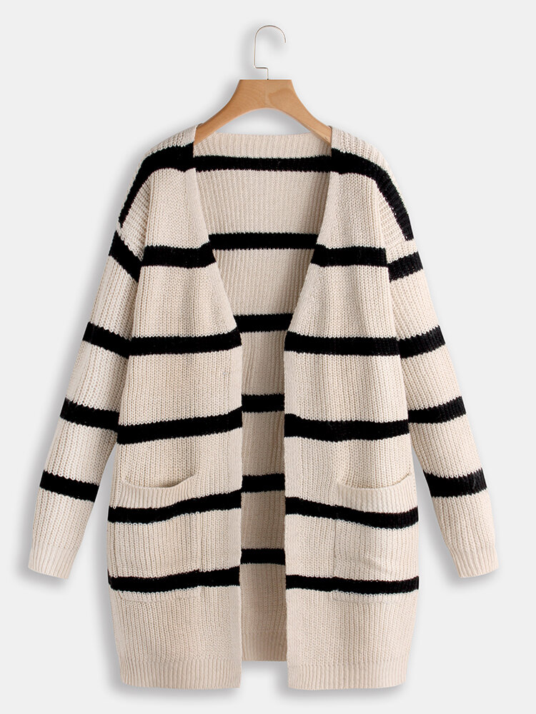 Contrast Color Stripe Knitted Women Cardigans with Pockets