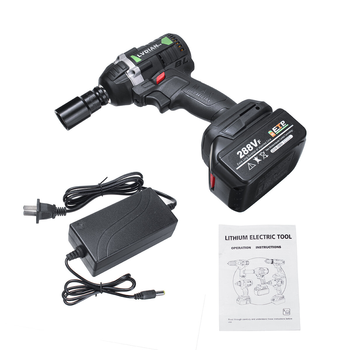 288VF 630N.m Brushless Cordless Electric Impact Wrench 19800mAh Powerful Tool