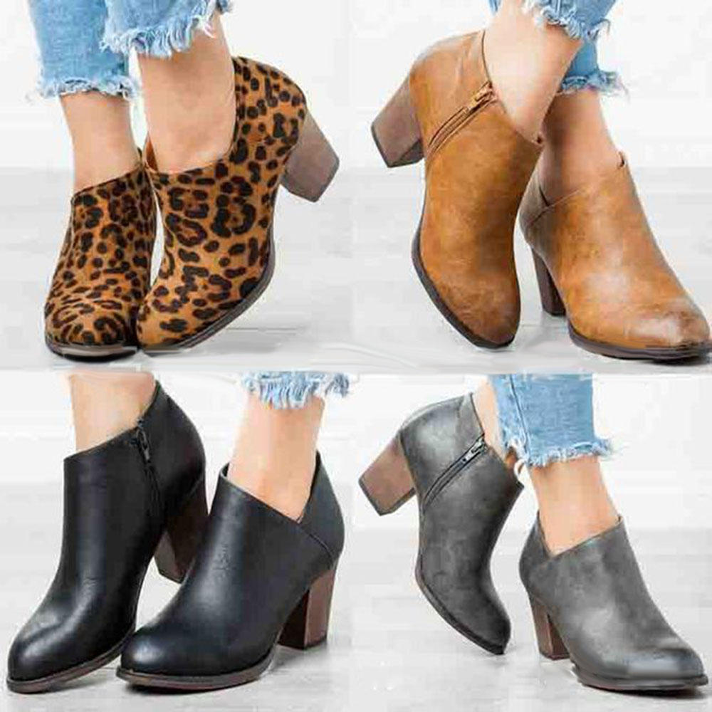 Large Size Women Leopard Clog High Chunky Heel Ankle Boots