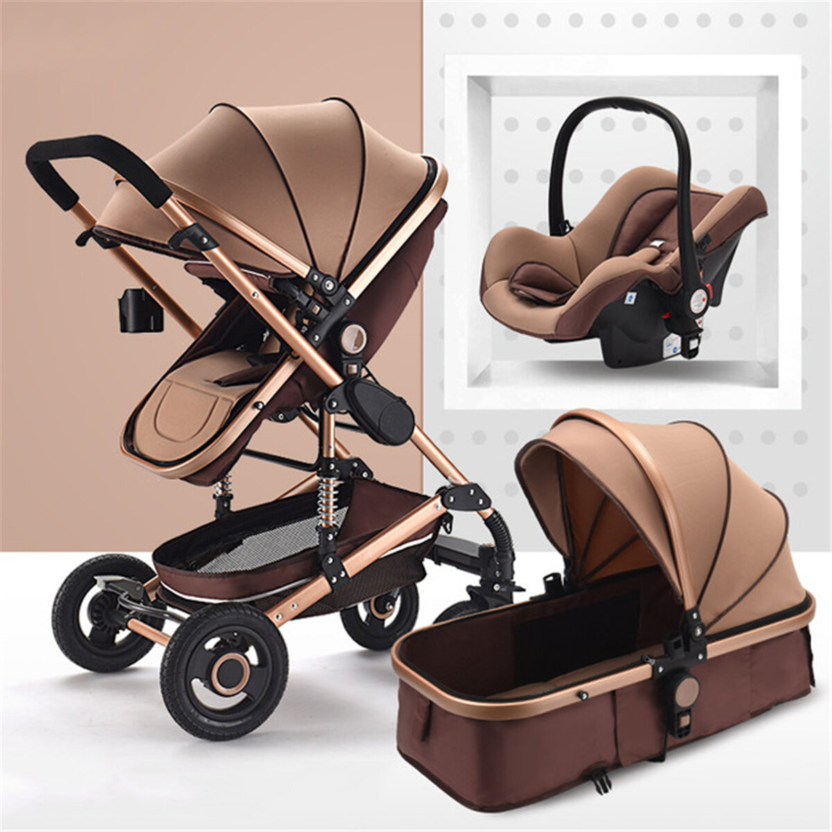 3 in 1 Baby Stroller High View Landscape Stroller Folding Baby Carriage Car Seat
