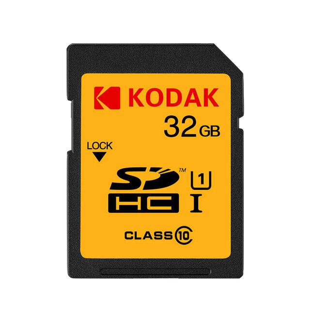 Cartão de memória SD KODAK U1 U3 Classe 10 Suporte 1080P HD 32GB 64GB 128 GB Cartão de memória SDHC para câmera digital SLR / HD