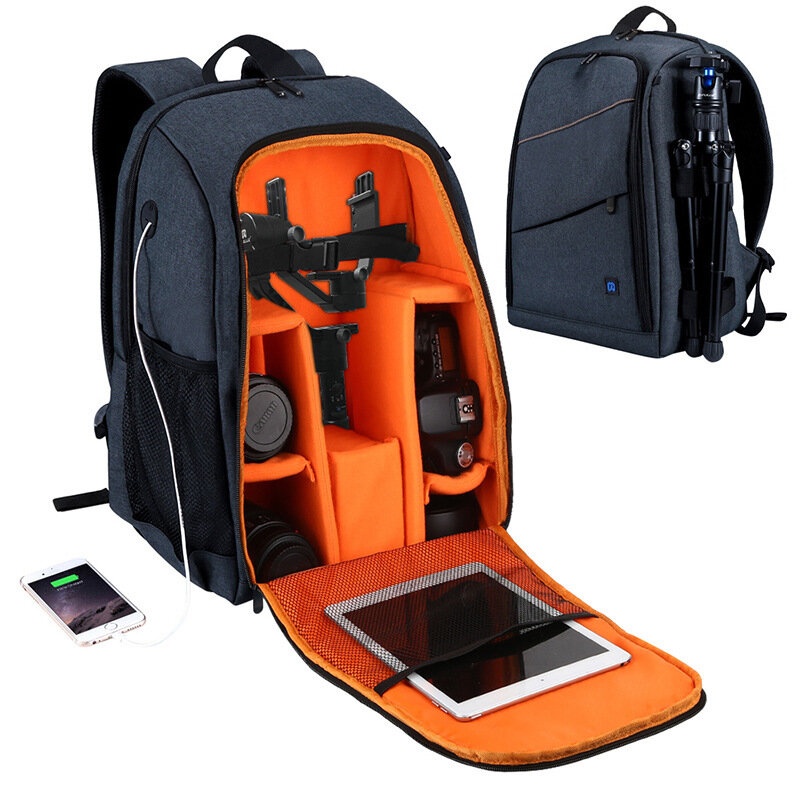 IPRee® Portable Camera Bag Waterproof Photography Backpack 15.6 inch Laptop Bag Travel Pouch Bag With USB Headphone Jack