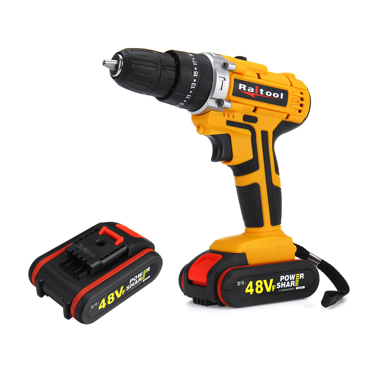Raitool 48VF Cordless Electric Impact Drill Rechargeable 3/8 inch Drill Screwdriver W/...