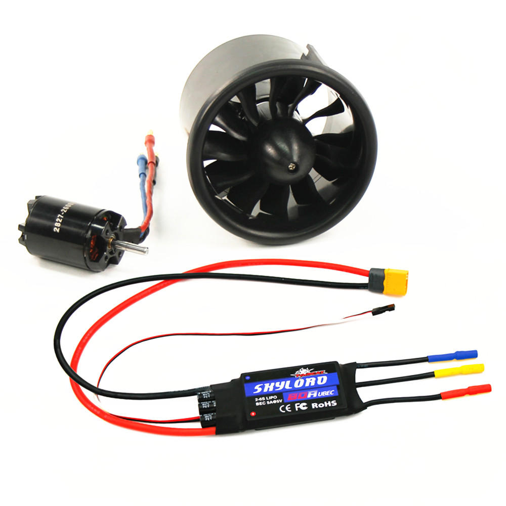 Tomcat 70mm12 Blades Ducted Fan with 2827-KV2600 Brushless Motor 80A ESC for RC Airplane Spare Part