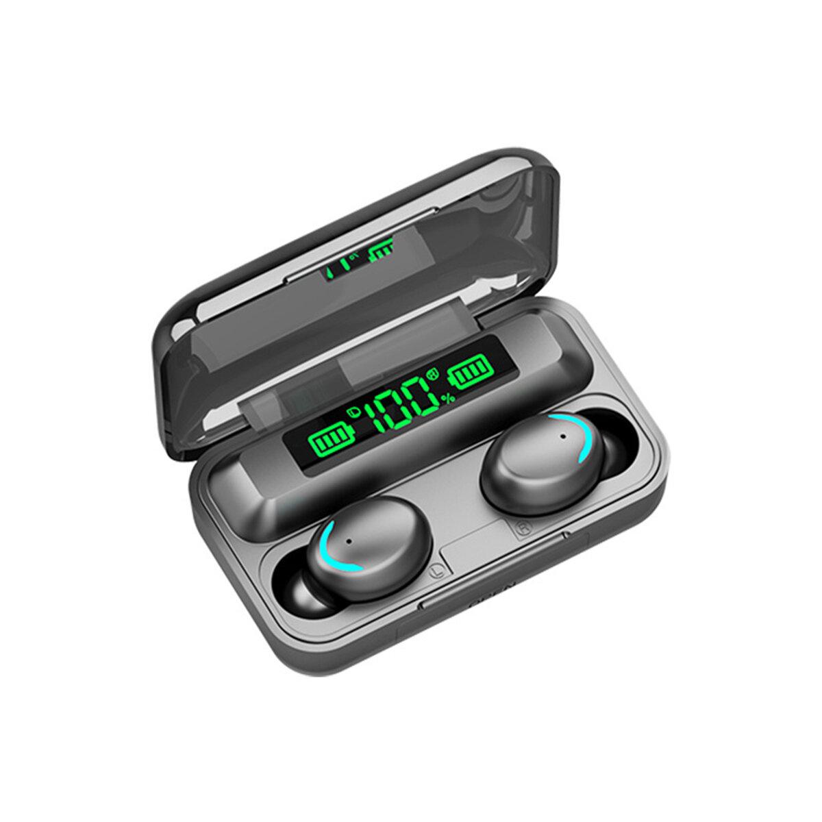 F9-5 TWS bluetooth 5.0 Tre LED Power Display-øretelefoner Vandtæt trådløst stereohovedtelefoner med opladningskasse