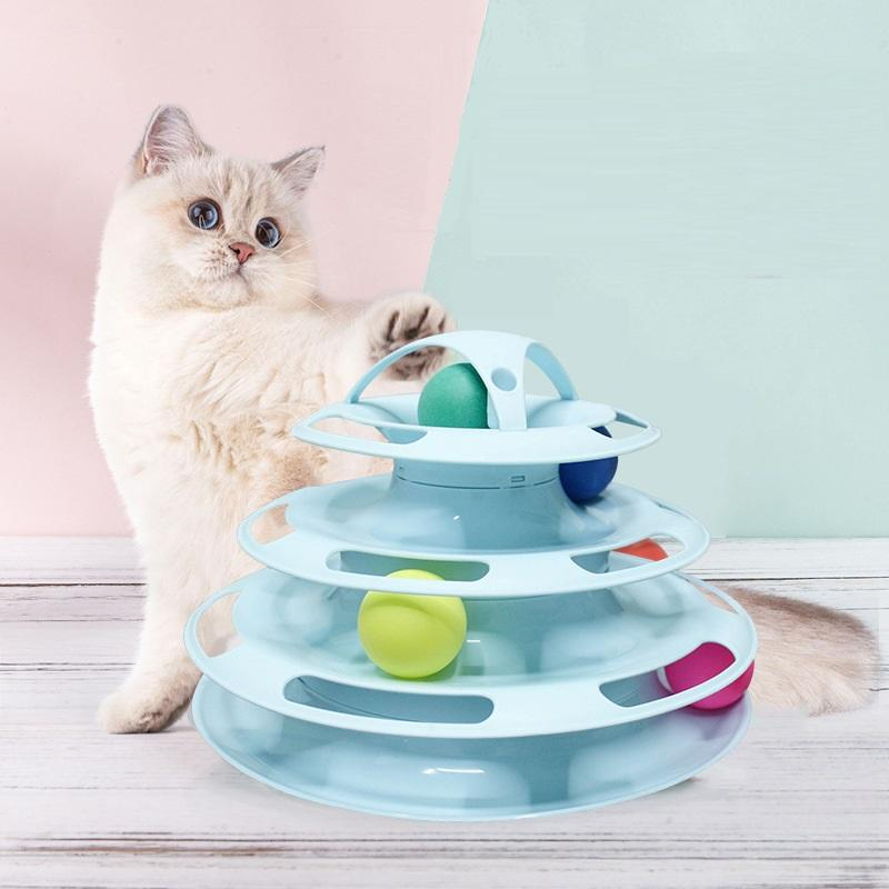 4 Layers Pet Toys Cat Training Ball Turning Plate Toy Cat Entertain Balls Turning Toys