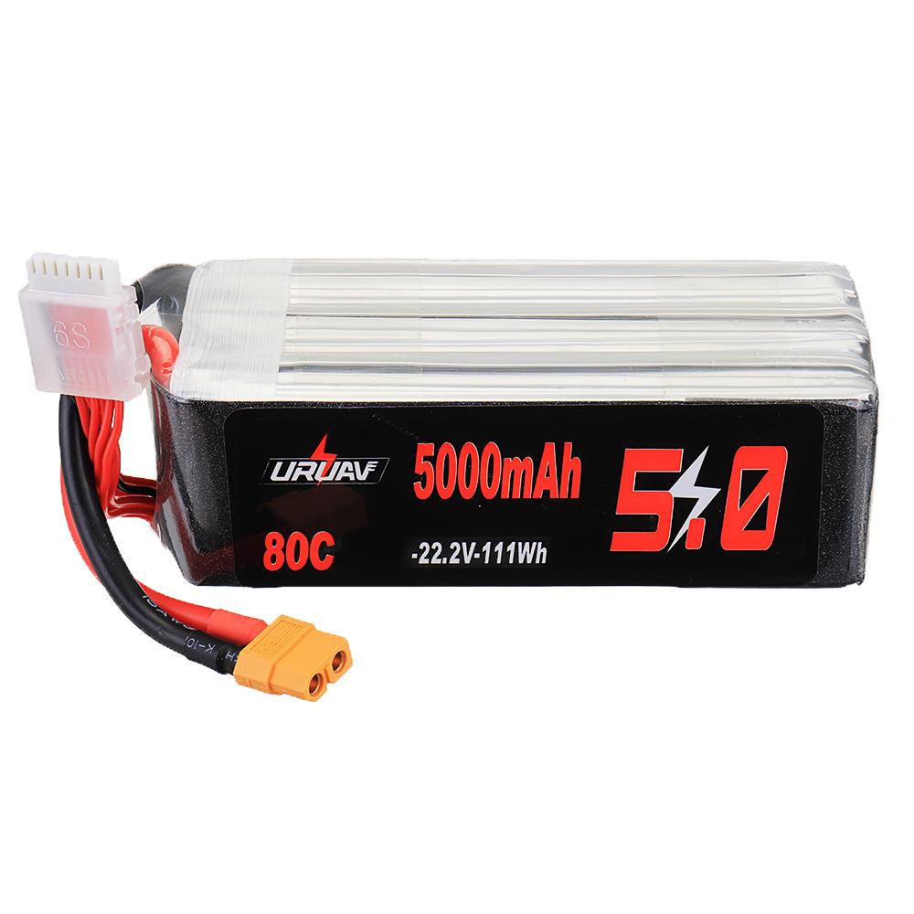 URUAV 22.2V 5000mAh 80C 6S Lipo Battery XT60 Plug for RC Drone