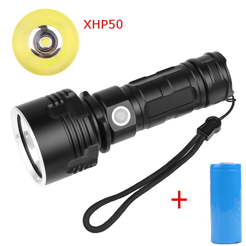 XANES XHP50 L2 1500Lumens USB Rechargeable LED Flashlight Suit with 26650 Battery